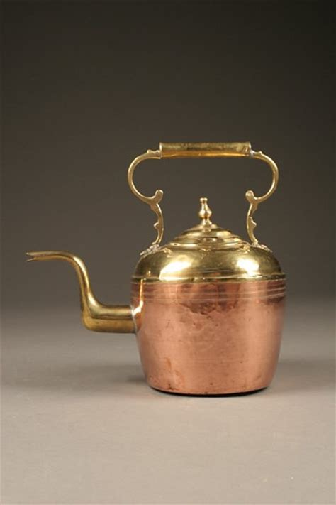 rare  century french tea kettle  fixed handle   copper  brass