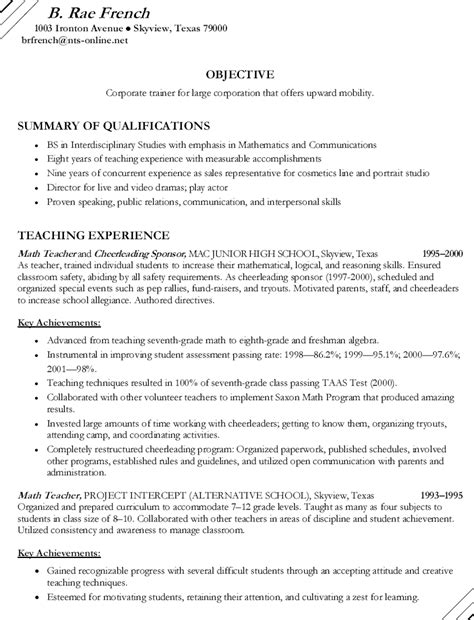 math cheerleading sponsor resume free sle math