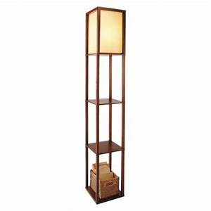 Threshold shelf floor lamp brown walnut with ivory for Threshold floor shelf lamp with ivory shade walnut