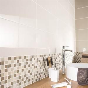 Mosaique mur simply beige leroy merlin for Salle de bain design avec décoration communion pas cher