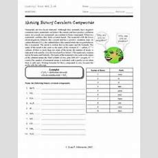 Naming Binary Covalent Compounds Worksheet For 10th  Higher Ed  Lesson Planet