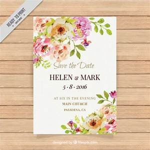 cute wedding invitation with watercolor flowers vector With cute wedding invitation with watercolor flowers