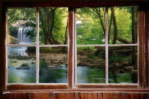 wall decal woods  waterfall window view large