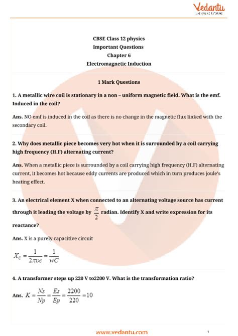 important questions  cbse class  physics chapter