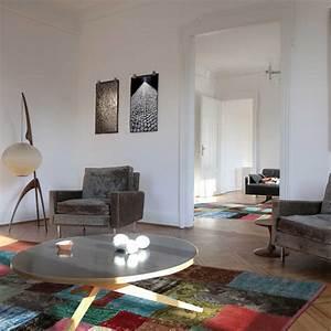 tapis contemporain patchwork multicolore en laine et coton With tapis kilim avec canapé haut de gamme italien