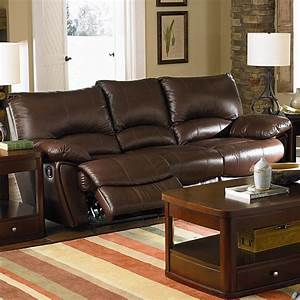 Clifford brown leather double reclining sofa sofas coa for Sectional sofa with double recliner