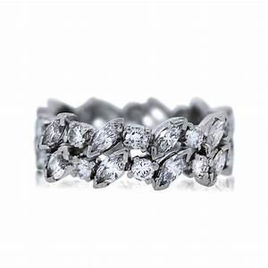 platinum marquise and round cut diamond eternity band ring With wedding ring diamond band