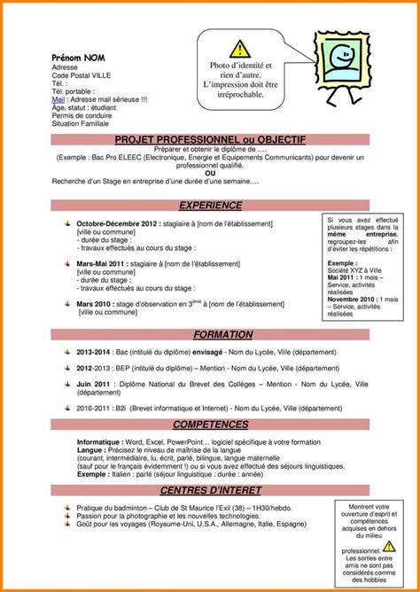 Exemple Pour Cv by Exemple De Cv Pour Stage Assp Laboite Cv Fr