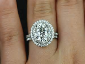 oval moissanite engagement ring rosados box cara white gold oval fb moissanite halo wedding set 3 820 this engagement