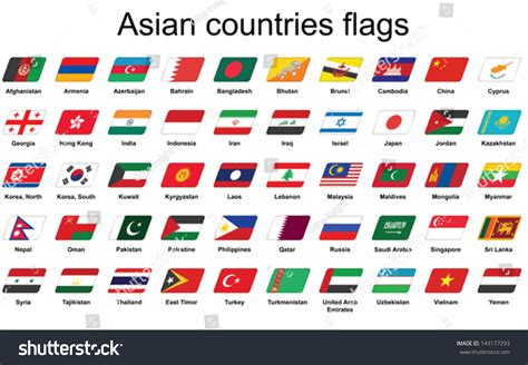 set asian countries flags icons stock vector