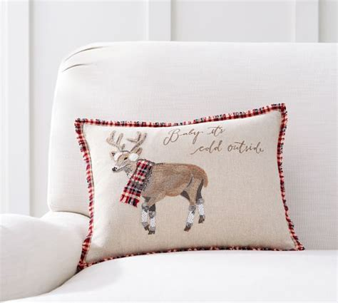 Chilly Reindeer Reversible Plaid Pillow Cover   Pottery Barn