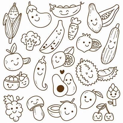 Kawaii Fruit Doodle Vegetables Coloring Doodles Vegetable