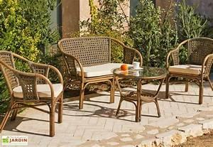 Salon Jardin Rotin : salon de jardin en rotin austin 1 sofa 2 fauteuils 1 table ~ Melissatoandfro.com Idées de Décoration