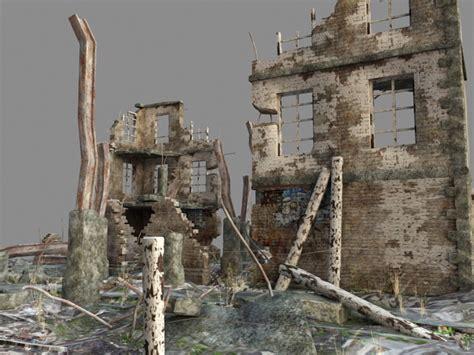 war zone ruined buildings  model  studiods max files   modeling   cadnav