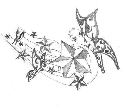 stars  butterflies tattoo design  breakaway