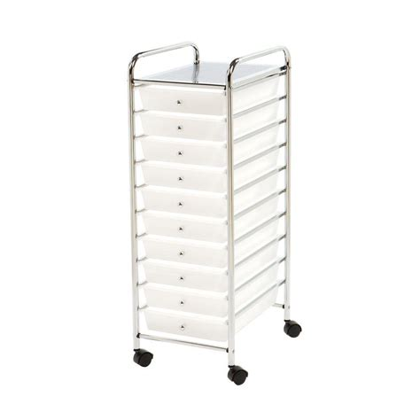 drawer organizer cart seville classics 10 drawer steel organizer cart in frosted