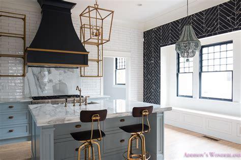 backsplash for black and white kitchen a vintage modern kitchen blue gray cabinets inset