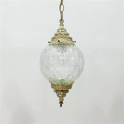 vintage swag l pendant light in clear pressed glass