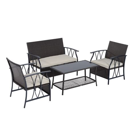 outsunny patio furniture outsunny 4 outdoor rattan wicker furniture set