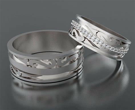 Custom His And Her Wedding Bands With Diamond