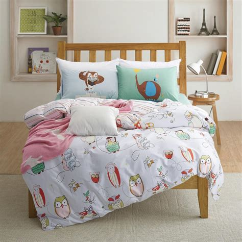 100 cotton owl print kids bedding set queen twin size with quilt duvet cover bed sheet