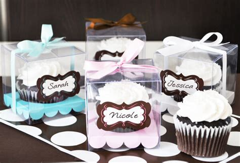 clear cupcake box wedding favors  labels ribbons