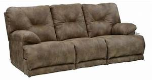 Power 3 seat quotlay flatquot reclining sofa with fold down for Sectional sofas with 3 recliners