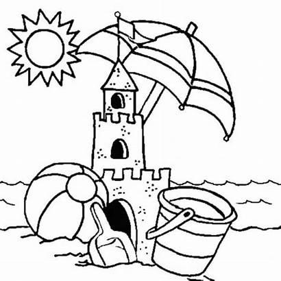 Coloring Sandcastle Pages Sand Castle Printable Summer