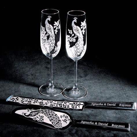 wedding toasting flutes and cake servers peacock wedding cake server and knife chagne flute set 1198