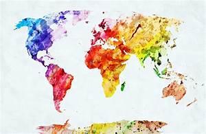 Carte Du Monde Design : watercolor world map multicolour colours canvas prints wonder wall ~ Teatrodelosmanantiales.com Idées de Décoration