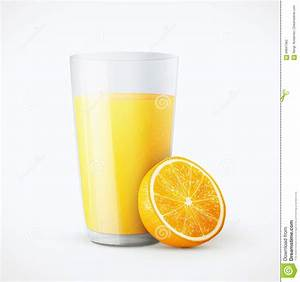 Glass Of Orange Juice With Fruit Stock Vector