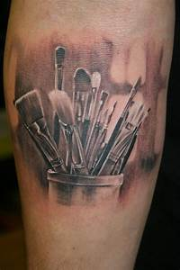 Paintbrush tattoo. A tribute to painting. :) Love it! As ...