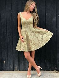 Gold Lace Homecoming Dress