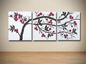 Original brown and red cherry blossom triptych painting on for What kind of paint to use on kitchen cabinets for canvas triptych wall art