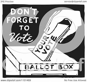 Clipart Retro Black And White Voter Putting A Ballot In A ...
