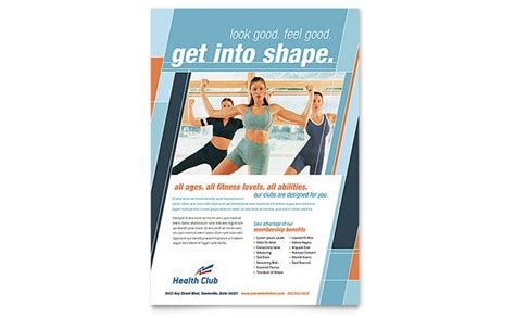health fitness gym flyer template design