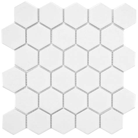 American Olean Hexagon Mosaic Tile by Merola Tile Metro Hex 2 In Matte White 10 1 2 In X 11 In