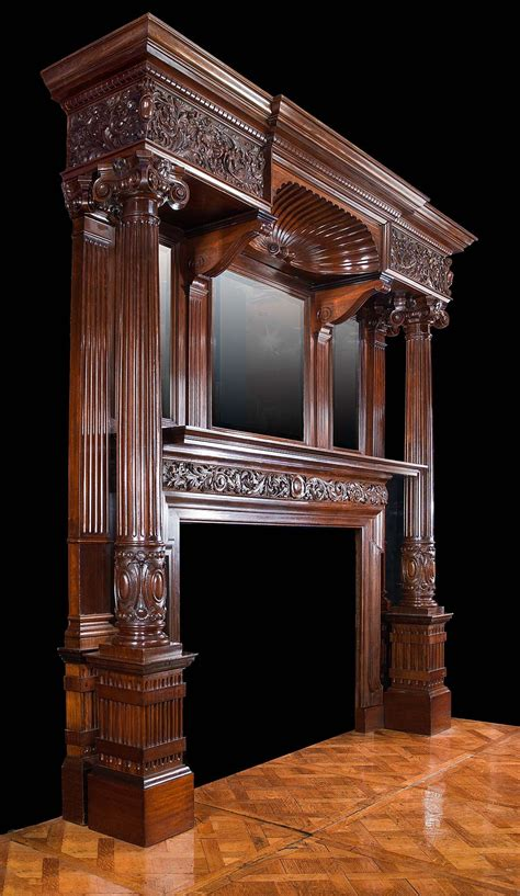 antique mahogany late victorian fireplace mantel living
