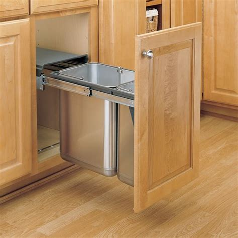 kitchen trash can cabinet rev a shelf trash pullout 30 liter stainless steel 6327
