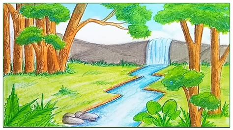 draw scenery  rainforest step  step youtube