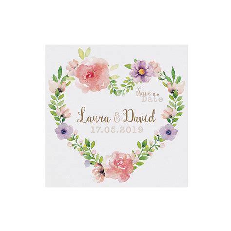 save  date karte mit floralem blumenherz im aquarell