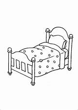 Bed Quilt Coloring Furniture Printable Print sketch template