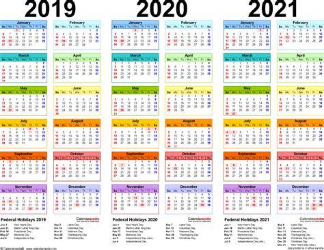 3 Year Calendar Printable 2019 2020 2021