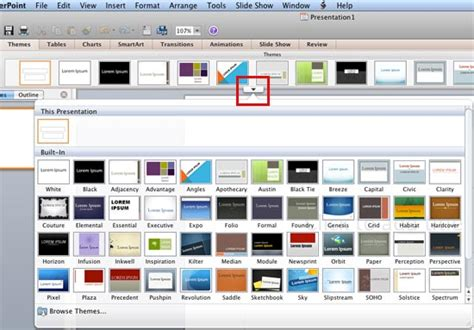 applying themes  word excel  powerpoint   mac