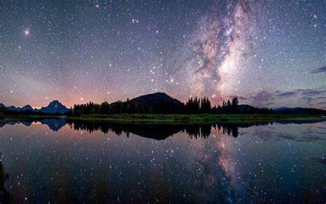 Nature Landscape Starry Night Milky Way Lake