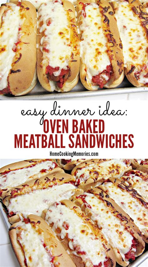easy dinner idea oven baked meatball sandwiches recipe