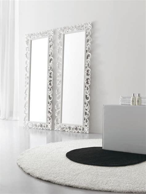 miroir pour salle de bain avec cadre baroque finition blanc mat dimensions 720x1860 by arcom