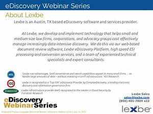 lexbe ediscovery webinar integrated foreign language With document review software applications