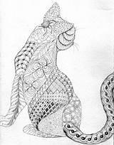 Cat Coloring Animals Mandalas Pages Zen Stress sketch template