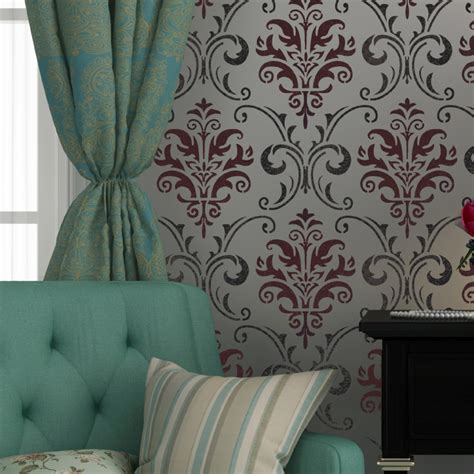 Decor And More by Wall Stencil Pattern Damask Allover Reusable Carol For